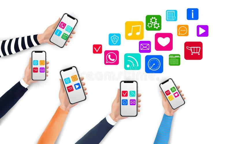 Κινητή έννοια apps με τα εικονίδια μέσων και τα ρεαλιστικά χέρια που κρατά smartphones διανυσματική απεικόνιση