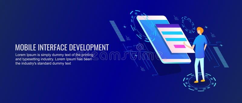 Κινητή ανάπτυξη διεπαφών, εφαρμογή, προγραμματιστής που λειτουργεί στην κινητή app έννοια ανάπτυξης Επίπεδο διανυσματικό έμβλημα  ελεύθερη απεικόνιση δικαιώματος
