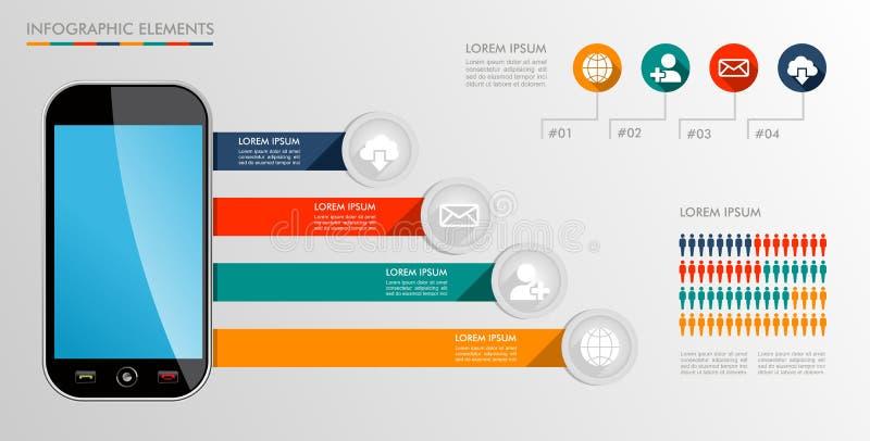 Κινητή απεικόνιση εικονιδίων διαγραμμάτων Infographic. απεικόνιση αποθεμάτων
