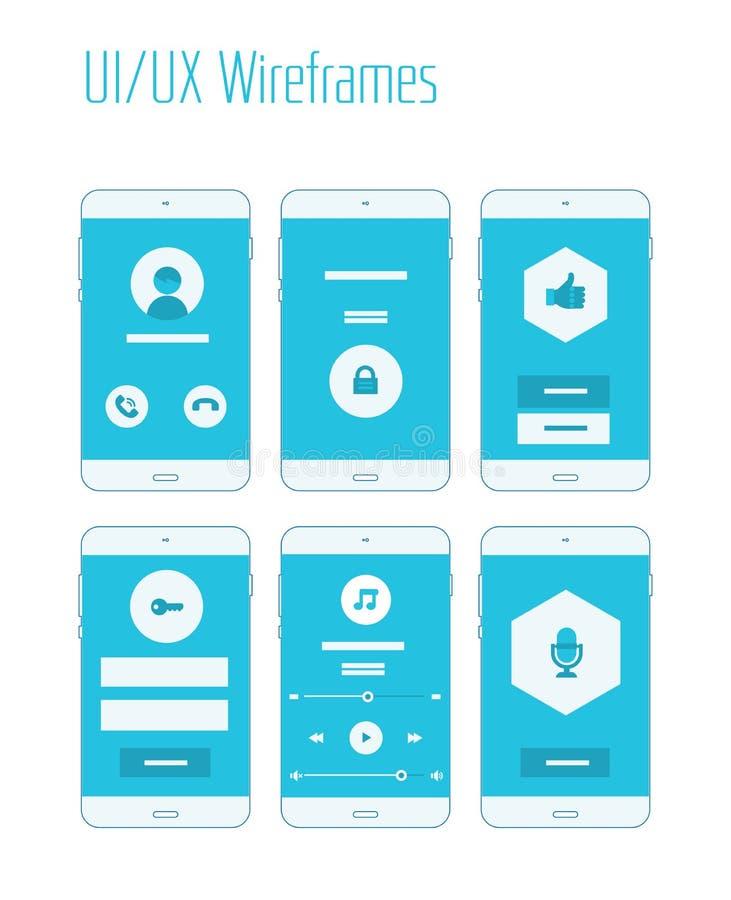 Κινητή εξάρτηση UI και UX Wireframes ελεύθερη απεικόνιση δικαιώματος