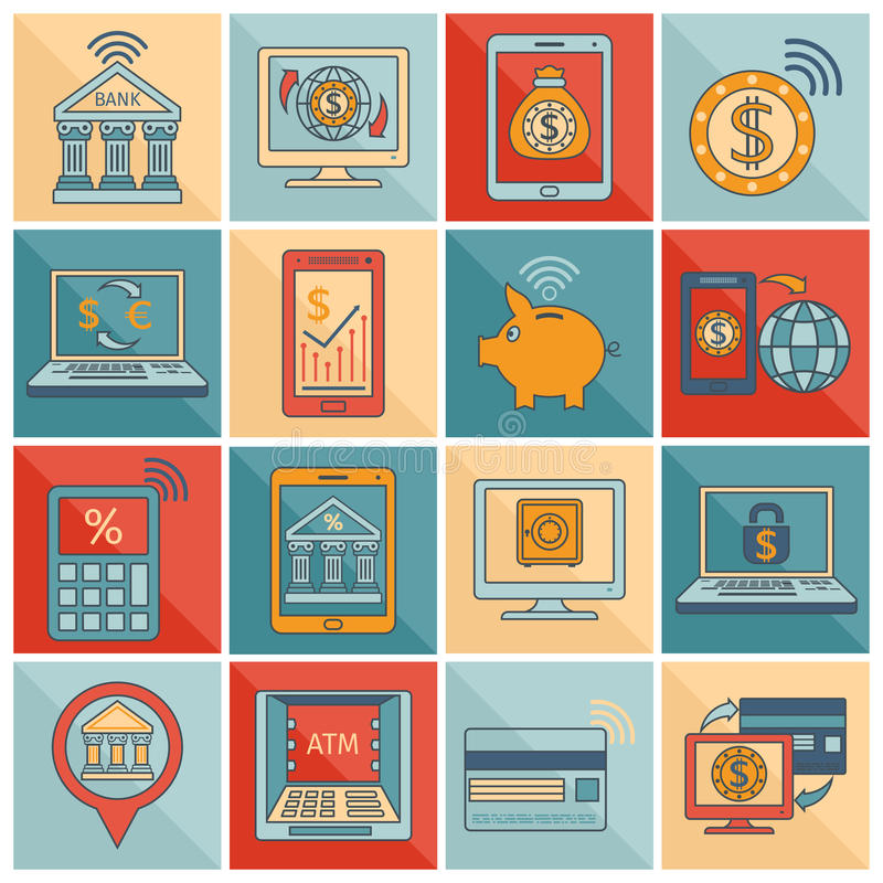 Κινητή επίπεδη γραμμή τραπεζικών εικονιδίων απεικόνιση αποθεμάτων
