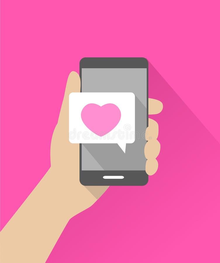 Κινητή επικοινωνία - μήνυμα αγάπης διανυσματική απεικόνιση