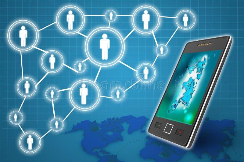 Κινητή επιχειρησιακή έννοια τηλεφωνικής τεχνολογίας, δημιουργικό δίκτυο απεικόνιση αποθεμάτων