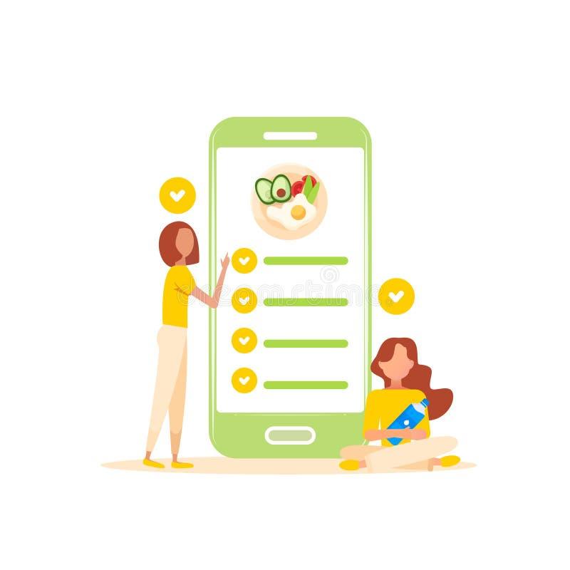 Κινητή εφαρμογή τροφίμων διατροφής στο smartphone Υγιής τρόπος ζωής απεικόνιση αποθεμάτων
