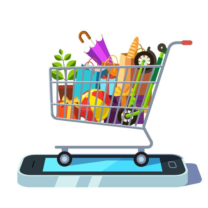 Κινητή λιανική και έννοια ηλεκτρονικού εμπορίου ελεύθερη απεικόνιση δικαιώματος