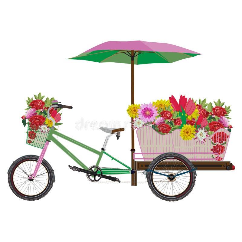 Κινητή διανυσματική επίπεδη απεικόνιση ποδηλάτων λουλουδιών απεικόνιση αποθεμάτων