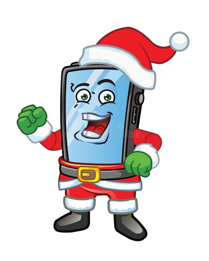 Κινητή μασκότ τηλεφωνικού Santa ελεύθερη απεικόνιση δικαιώματος