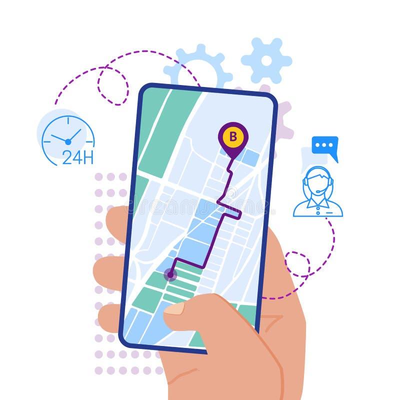 Κινητή ναυσιπλοΐα app στην επίπεδη απεικόνιση σχεδίου οθόνης στοκ εικόνες με δικαίωμα ελεύθερης χρήσης