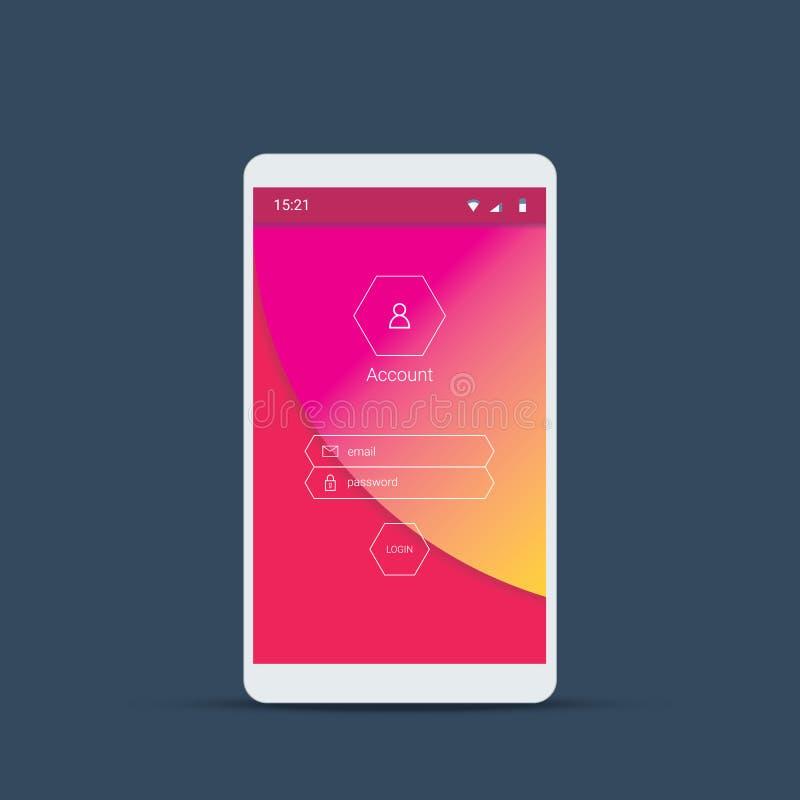 Κινητή οθόνη σύνδεσης ενδιάμεσων με τον χρήστη Εικονίδια Smartphone για τον απολογισμό και τον κωδικό πρόσβασης με το υλικό διανυ ελεύθερη απεικόνιση δικαιώματος
