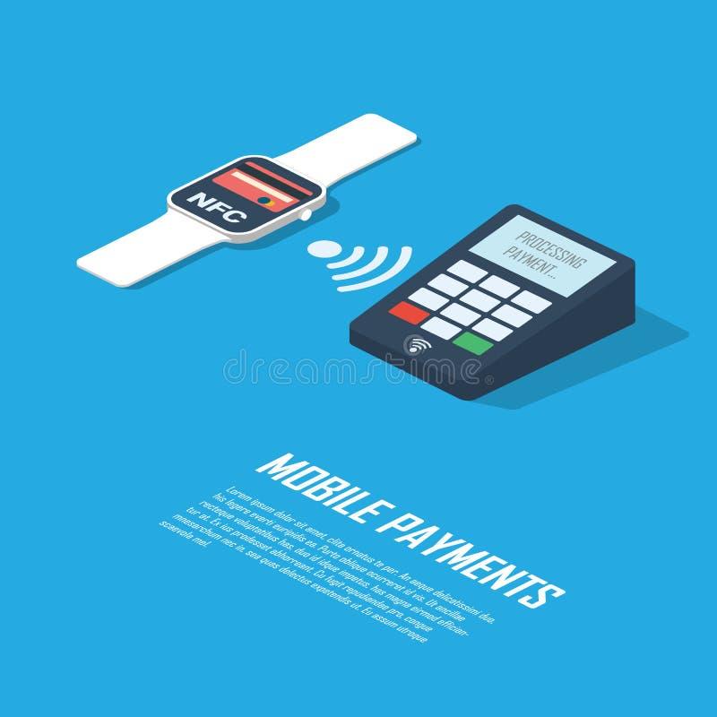 Κινητή παρουσίαση infographics έννοιας πληρωμών Smartwatch με την τεχνολογία nfc που κάνει ασύρματο ανέπαφο διανυσματική απεικόνιση