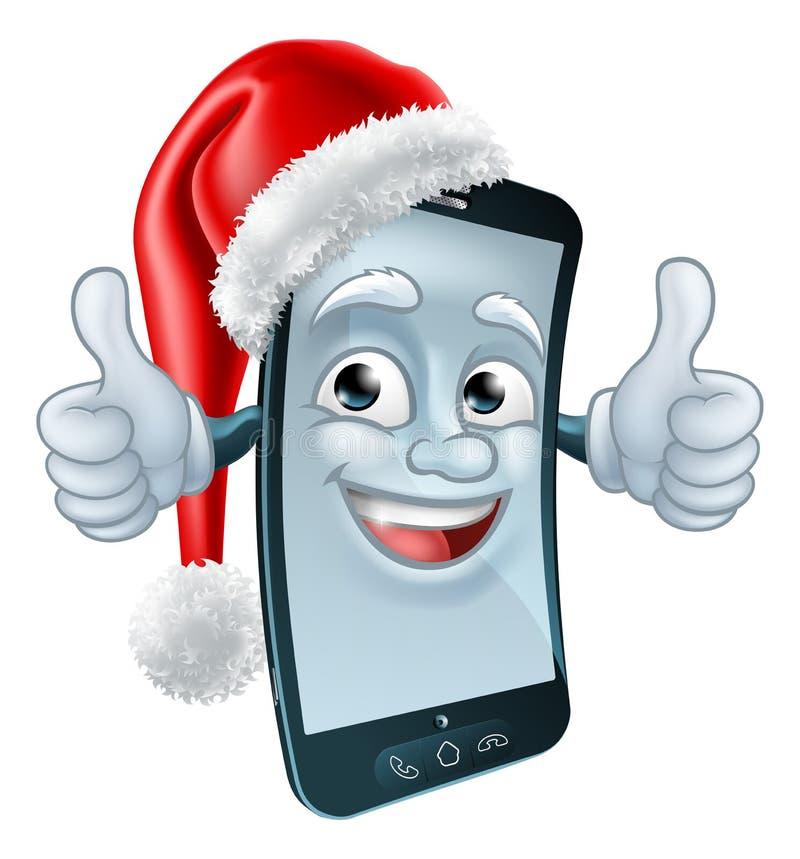 Κινητή τηλεφωνική μασκότ κυττάρων Χριστουγέννων στο καπέλο Santa ελεύθερη απεικόνιση δικαιώματος