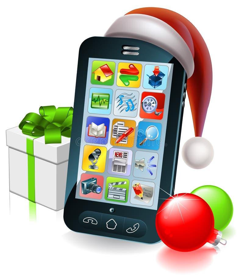Κινητή τηλεφωνική απεικόνιση Χριστουγέννων απεικόνιση αποθεμάτων