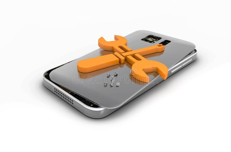Κινητή τηλεφωνική επισκευή, σπασμένο κινητό τηλέφωνο με το λογότυπο επισκευής τρισδιάστατη απεικόνιση, ο απομονωμένος Μαύρος απεικόνιση αποθεμάτων