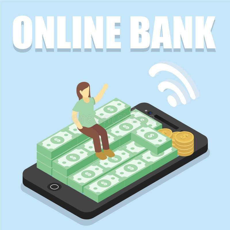 Κινητή τράπεζα Smartphone ελεύθερη απεικόνιση δικαιώματος