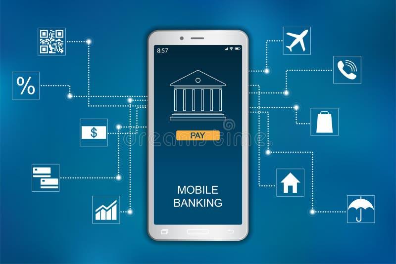 Κινητή τραπεζική έννοια Επίπεδο σχέδιο εικονιδίων infographic ελεύθερη απεικόνιση δικαιώματος