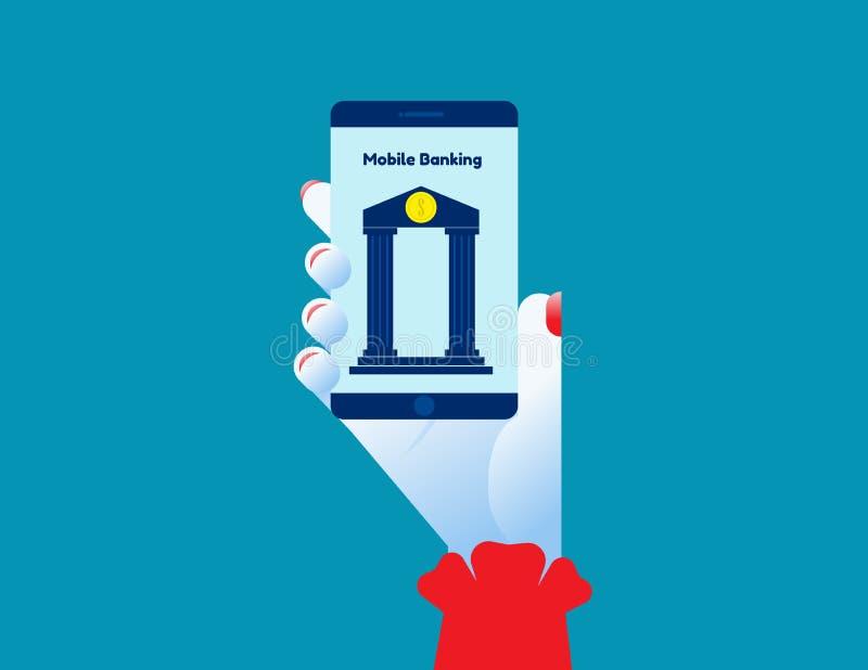 Κινητή τραπεζική Απεικόνιση φορέα τεχνολογίας ιδεών, Συναλλαγή χρημάτων, Πληρωμή, Ηλεκτρονικές χρηματοοικονομικές συναλλαγές διανυσματική απεικόνιση