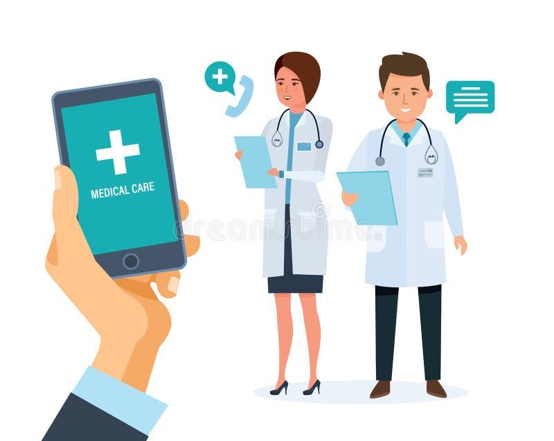 Κινητή υπηρεσία υγειονομικής περίθαλψης Κινητός σύμβουλος Smartphone εκμετάλλευσης χεριών με την εφαρμογή διανυσματική απεικόνιση
