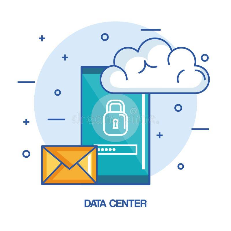 Κινητή φιλοξενία τεχνολογίας σύννεφων τηλεφωνικού ηλεκτρονικού ταχυδρομείου κέντρων δεδομένων διανυσματική απεικόνιση