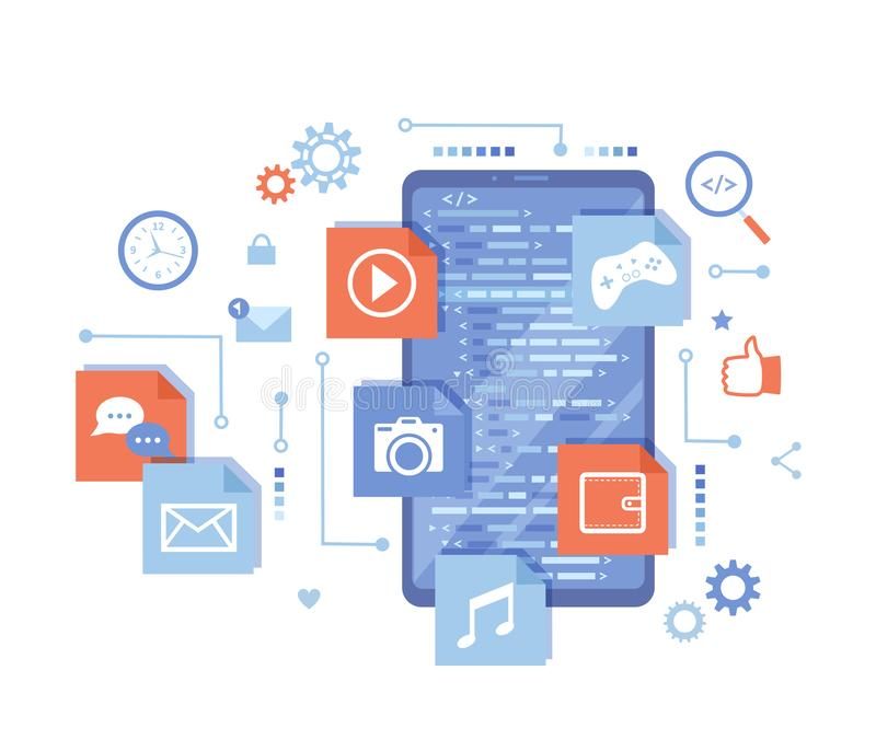 Κινητή App ανάπτυξη, διαχείριση λογισμικού, Ui, ανάπτυξη Ux Τηλεφωνική οθόνη με τον κώδικα προγράμματος, κινητά app εικονίδια o διανυσματική απεικόνιση