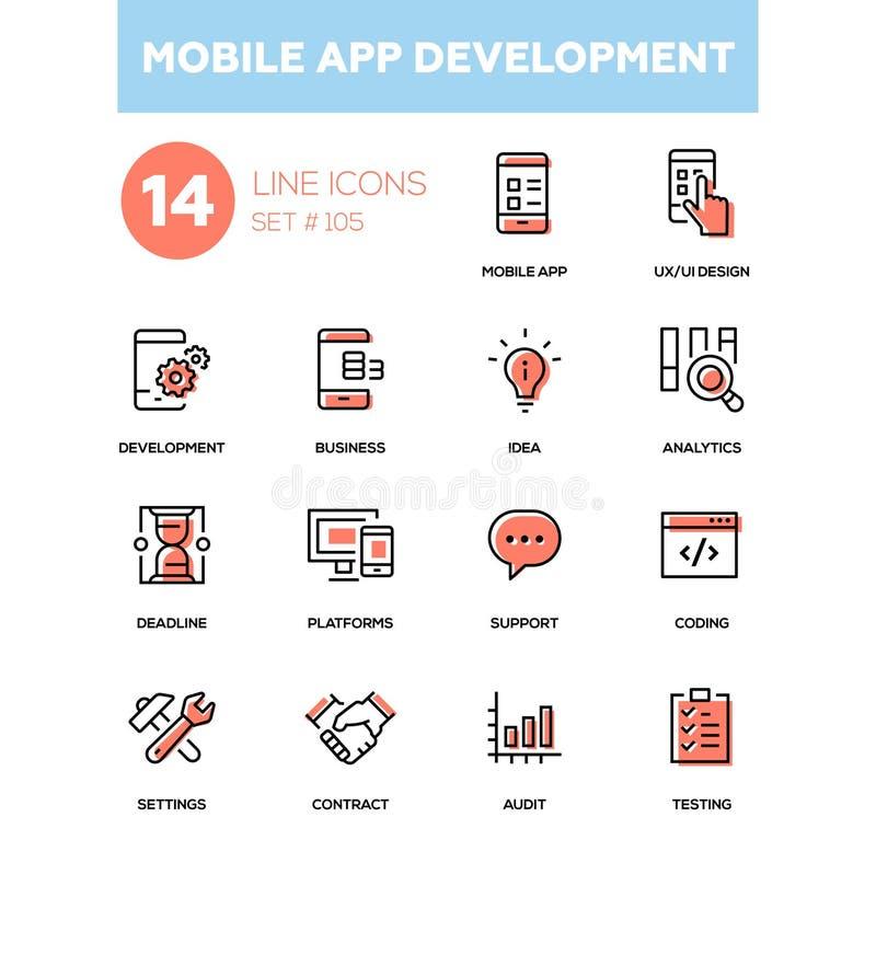 Κινητή app ανάπτυξη - σύγχρονα εικονίδια σχεδίου γραμμών καθορισμένα απεικόνιση αποθεμάτων