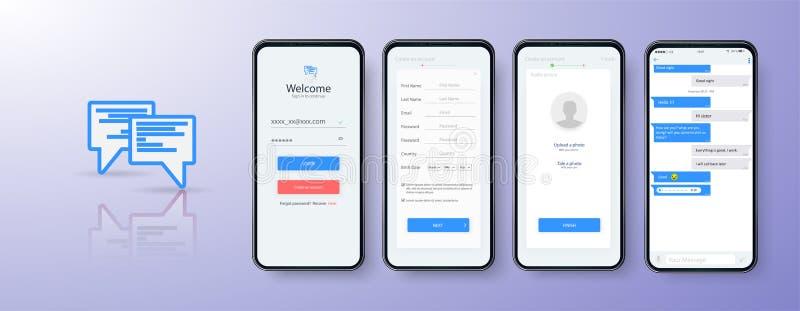 Κινητή App σχεδίου σύνδεση UI, σχεδιάγραμμα UX και GUI Σύνολο οθονών εγγραφής χρηστών, σημάδι απολογισμού μέσα απεικόνιση αποθεμάτων
