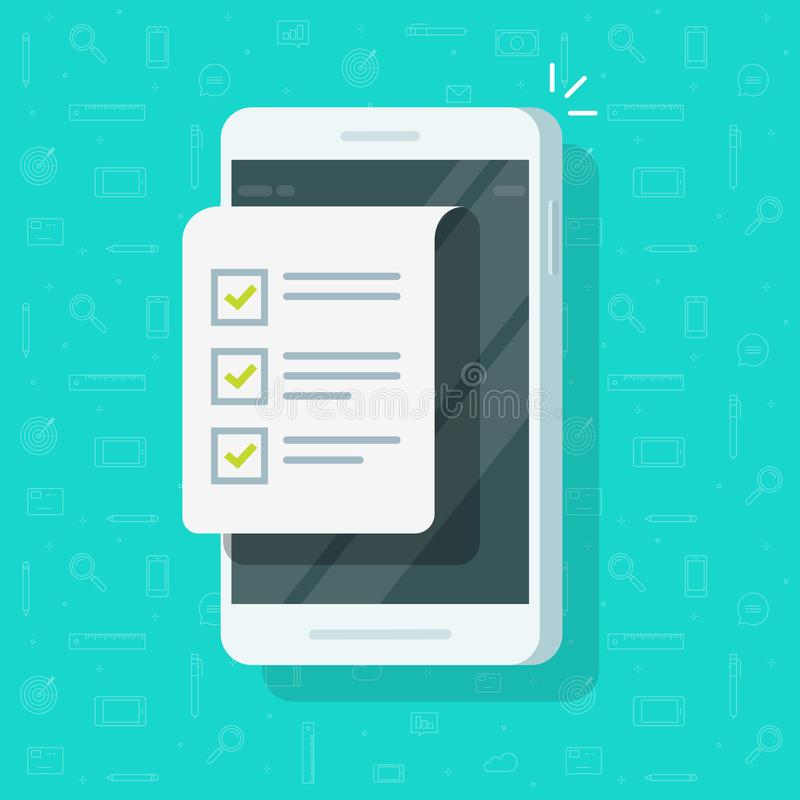 Κινητοί τηλέφωνο και πίνακας ελέγχου διανυσματική απεικόνιση, επίπεδη επίδειξη smartphone κινούμενων σχεδίων με το έγγραφο ή για  απεικόνιση αποθεμάτων