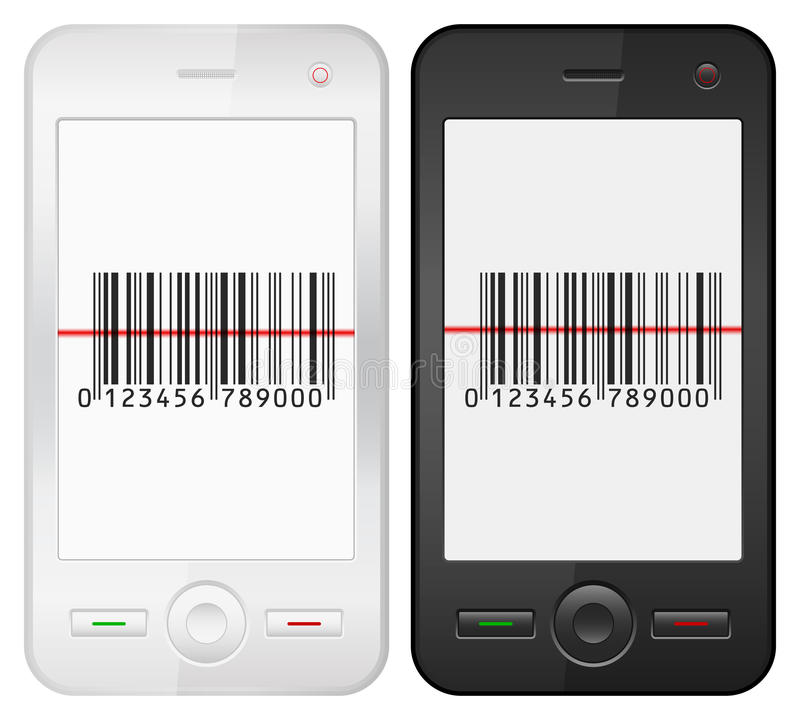 Κινητοί τηλέφωνο και γραμμωτός κώδικας ελεύθερη απεικόνιση δικαιώματος
