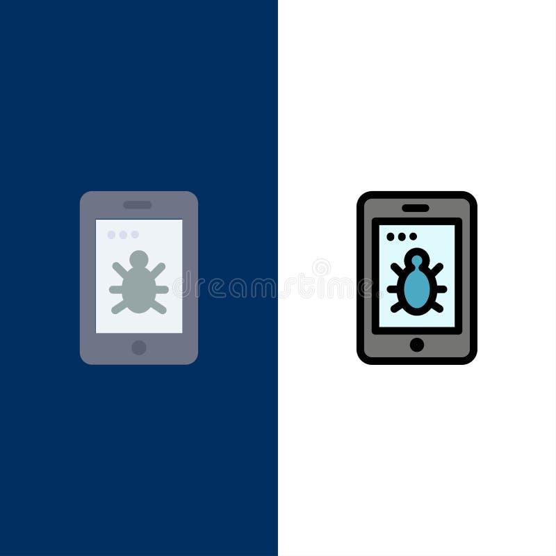Κινητός, ασφάλεια, εικονίδια ζωύφιου Επίπεδος και γραμμή γέμισε το καθορισμένο διανυσματικό μπλε υπόβαθρο εικονιδίων διανυσματική απεικόνιση