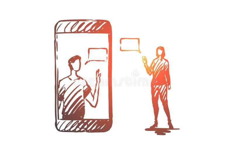 Κινητός, επικοινωνία, μήνυμα, γυναίκα, έννοια ανδρών Συρμένο χέρι απομονωμένο διάνυσμα ελεύθερη απεικόνιση δικαιώματος