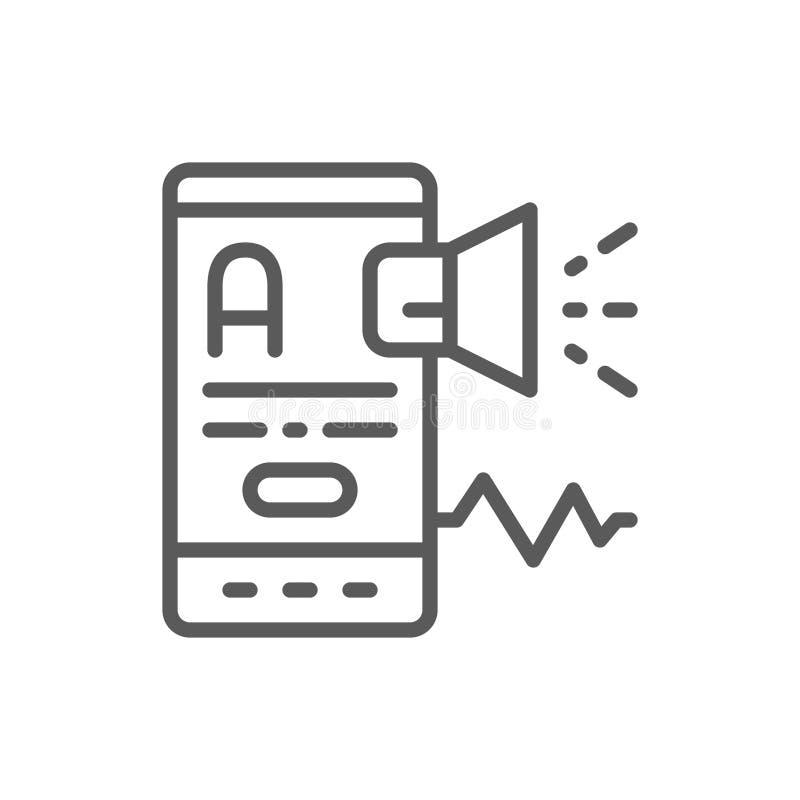 Κινητός με megaphone, ξένη γλώσσα, μετάφραση, μάρκετινγκ, εικονίδιο γραμμών προώθησης απεικόνιση αποθεμάτων