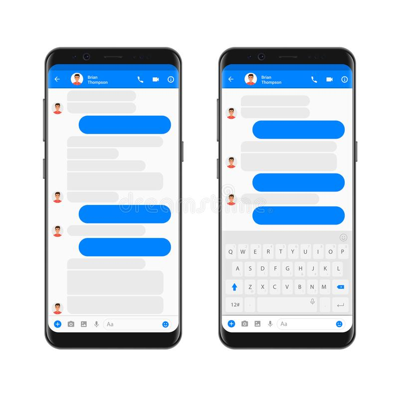 Κινητός σύγχρονος αγγελιοφόρος εξαρτήσεων ui στην οθόνη smartphone App συνομιλίας πρότυπο με τις κενές φυσαλίδες συνομιλίας με το απεικόνιση αποθεμάτων