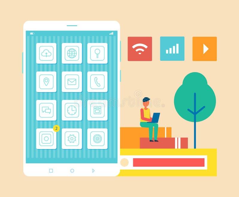 Κινητός υπεύθυνος για την ανάπτυξη τηλεφωνικών ατόμων διανυσματική απεικόνιση απεικόνιση αποθεμάτων