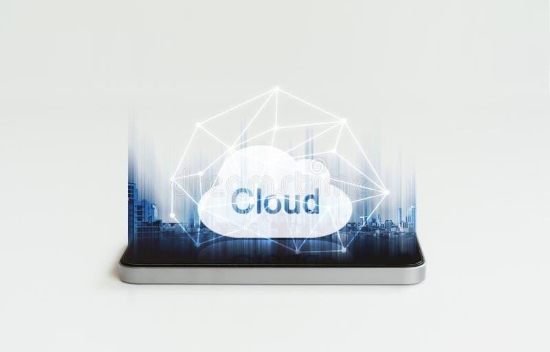 Κινητός υπολογισμός τηλεφωνικών σύννεφων Τεχνολογία σύνδεσης κινητών έξυπνων τηλέφωνο και εικονιδίων και δικτύων σύννεφων στοκ εικόνα με δικαίωμα ελεύθερης χρήσης