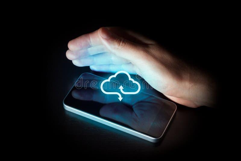 Κινητός υπολογισμός τηλεφωνικών σύννεφων στοκ εικόνες με δικαίωμα ελεύθερης χρήσης