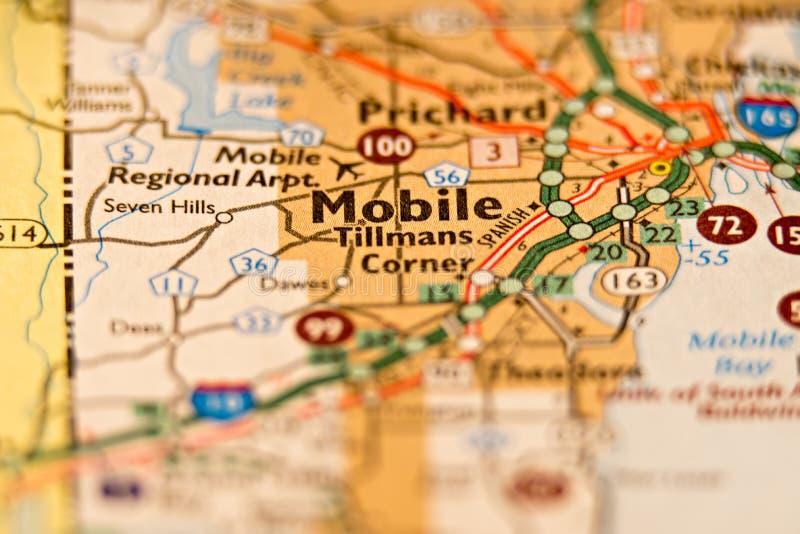 Κινητός χάρτης περιοχής της Αλαμπάμα στοκ εικόνα