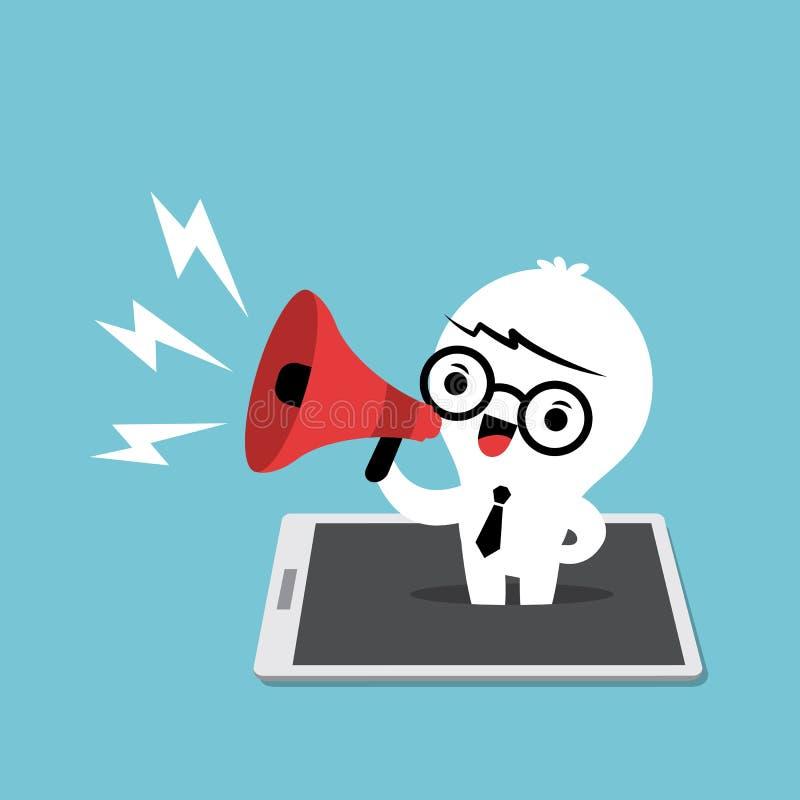 Κινητό έξυπνο τηλέφωνο έννοιας μάρκετινγκ με το λαϊκό επάνω επιχειρησιακό άτομο ελεύθερη απεικόνιση δικαιώματος
