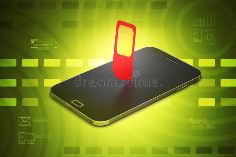 Κινητό έξυπνο τηλέφωνο με την sim-κάρτα ελεύθερη απεικόνιση δικαιώματος