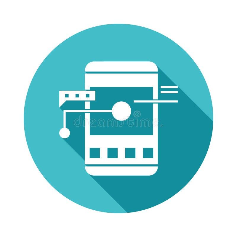 κινητό εικονίδιο ανάπτυξης apps στο επίπεδο μακροχρόνιο ύφος σκιών απεικόνιση αποθεμάτων