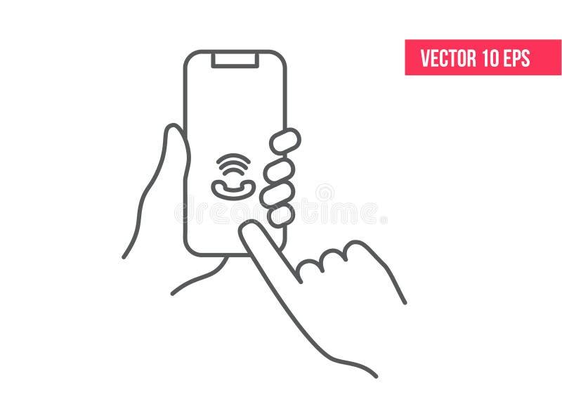 Κινητό εικονίδιο τηλεφωνικών γραμμών Smartphone ή κινητό τηλέφωνο που χτυπά στο χέρι ενός ανθρώπου εικονίδιο γραμμών Smartphone ε διανυσματική απεικόνιση