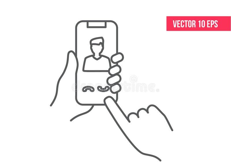Κινητό εικονίδιο τηλεφωνικών γραμμών Smartphone ή κινητό τηλέφωνο που χτυπά στο χέρι ενός ανθρώπου εικονίδιο γραμμών Smartphone ε ελεύθερη απεικόνιση δικαιώματος