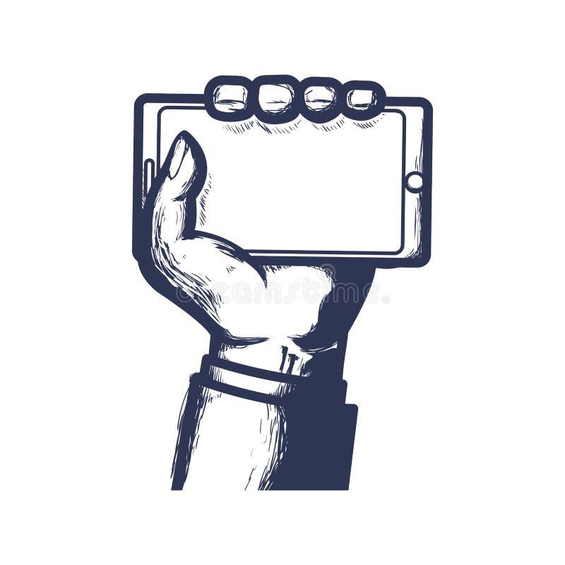 Κινητό εικονίδιο τεχνολογίας συσκευών χεριών Smartphone σαν διανυσματικά κύματα στροβίλου ανασκόπησης διακοσμητικά γραφικά τυποπο απεικόνιση αποθεμάτων