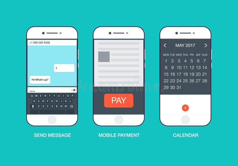 Κινητό διάνυσμα παραθύρων τηλεφωνικών διεπαφών οθόνης αφής Ο επίπεδος ιστοχώρος στοιχείων ύφους σύγχρονος χτυπά το εικονίδιο εμβλ διανυσματική απεικόνιση