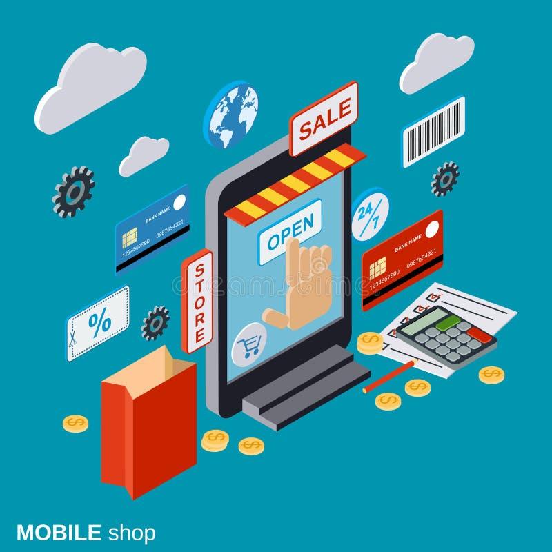 Κινητό κατάστημα, ψωνίζοντας on-line, απόμακρο εμπόριο, διανυσματική έννοια ηλεκτρονικού εμπορίου διανυσματική απεικόνιση