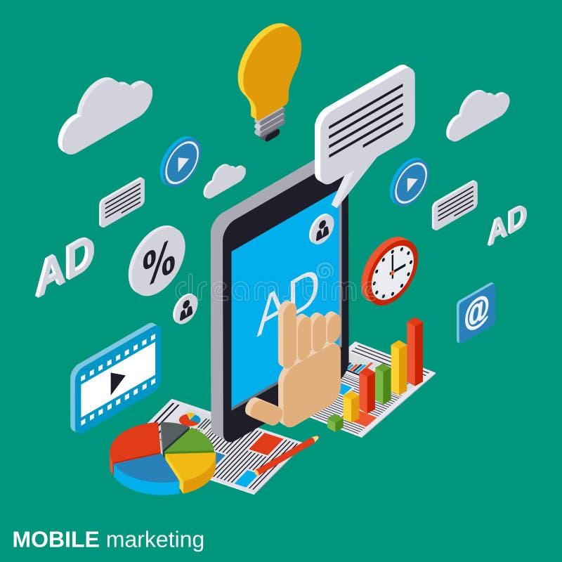 Κινητό μάρκετινγκ, διαφήμιση, διανυσματική έννοια προώθησης διανυσματική απεικόνιση