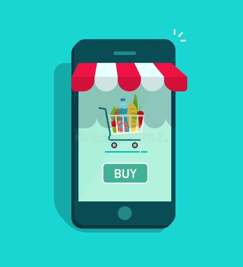 Κινητό σε απευθείας σύνδεση διάνυσμα καταστημάτων, smartphone storefront με το κάρρο αγορών απεικόνιση αποθεμάτων