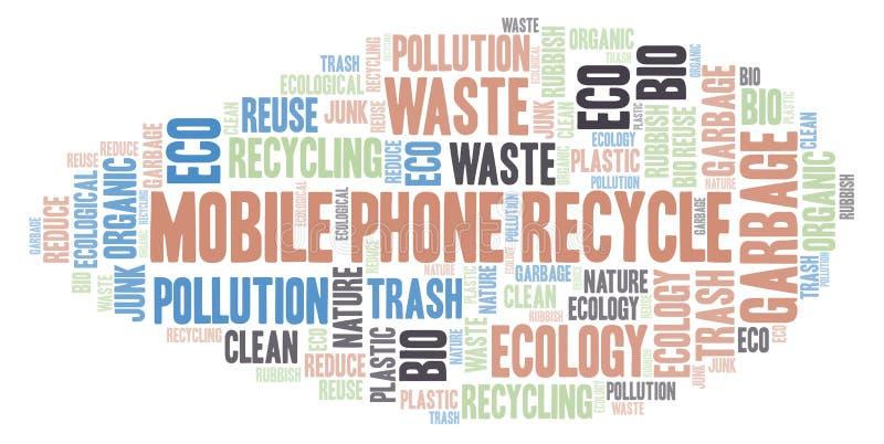 Κινητό σύννεφο τηλεφωνικής ανακύκλωσης λέξης ελεύθερη απεικόνιση δικαιώματος