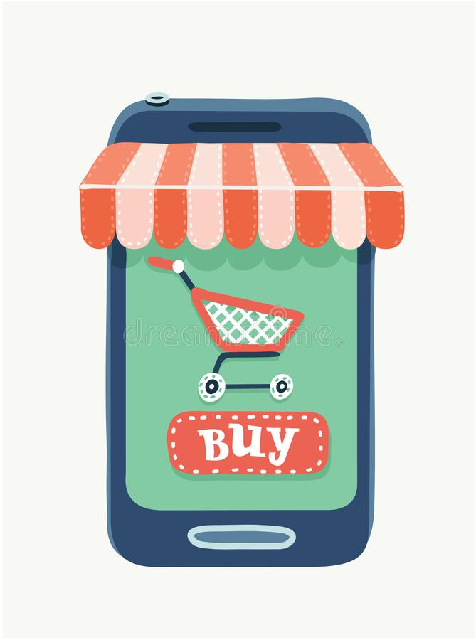 Κινητό τηλέφωνο Έννοια κινητών καταστημάτων διανυσματική απεικόνιση