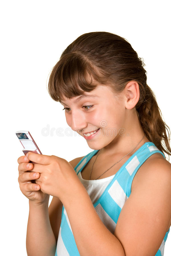κινητό τηλέφωνο κοριτσιών στοκ εικόνες