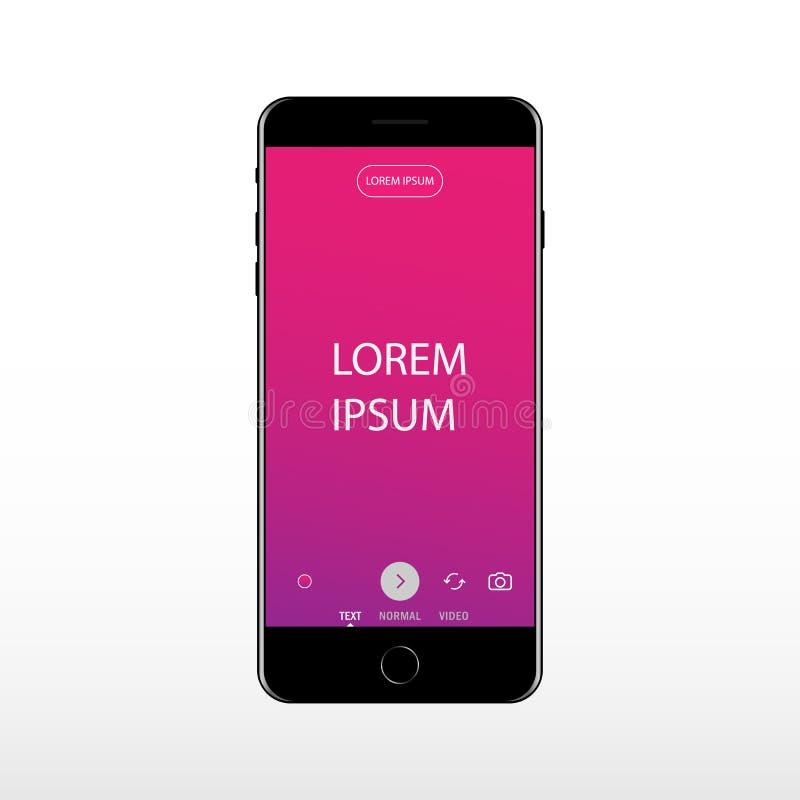 Κινητό τηλέφωνο με την οθόνη της εισαγωγής κειμένων Είσοδος του κειμένου σας για το κοινωνικό δίκτυο διανυσματική απεικόνιση
