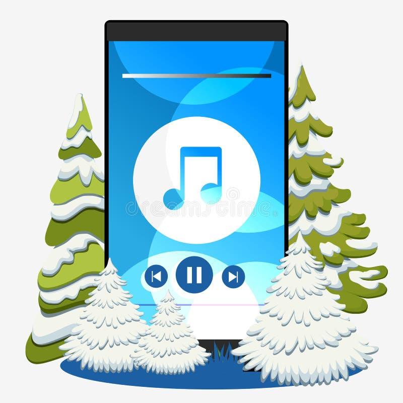 Κινητό τηλέφωνο με χριστουγεννιάτικη μουσική Χειμερινό φόντο και χριστουγεννιάτικο δέντρο ελεύθερη απεικόνιση δικαιώματος